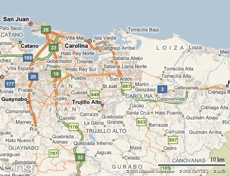 Localización de Loíza, al este de San Juan, Puerto Rico