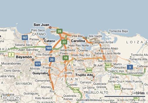 Ubicación de los municipios de San Juan y Carolina, Puerto Rico.