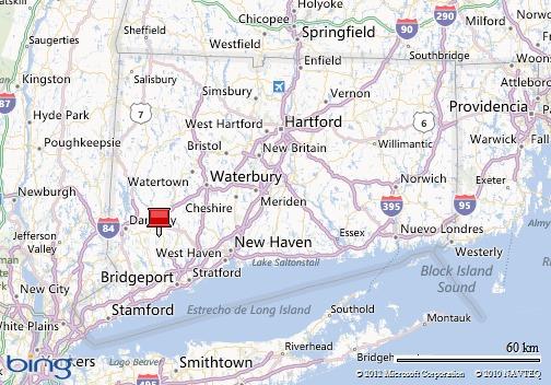 Mapa de Connecticut, EE.UU.A. La tachuela roja indica la ubicación de la villa de Sandy Hook.