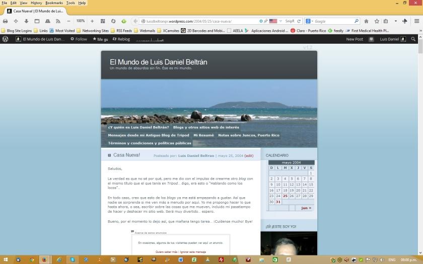 Captura de pantalla de la primera entrada colocada en mi blog, entonces llamado 'Novedades de Luis Daniel Beltrán' y alojado en Blogger.com, pero con el título actual de mi blog y utilizando la plantilla 'Ocean Mist' de WordPress.com.  (Que conste: a falta de la plantilla que usé entonces en Blogger.com, esto es lo mejor que puedo hacer...) © 2014 Luis Daniel Beltrán Burgos. Derechos reservados.