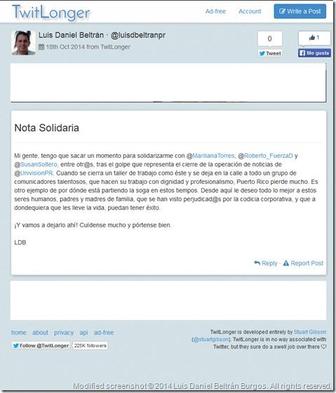 Captura de pantalla (modificada para eliminarle la publicidad que no viene al caso) de la entrada que escribí en TwitLonger el 18 de octubre de 2014, al día siguiente de producirse los despidos en el departamento de noticias de Univisión-Puerto Rico (WLII-DT).